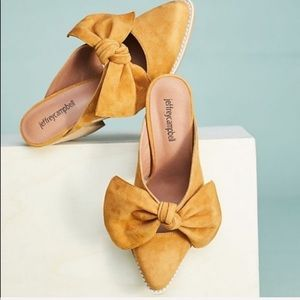 New Jeffrey Campbell Yellow Cyrus Bow Mules Anthro